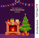 christmas fireplace room...   Shutterstock .eps vector #739766779