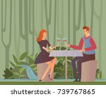 young happy couple on a date.... | Shutterstock .eps vector #739767865