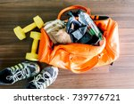 sports bag with sports equipment | Shutterstock . vector #739776721