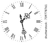 elegant clock face with roman... | Shutterstock .eps vector #739778761