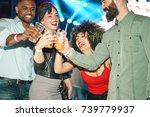 happy friends having party in... | Shutterstock . vector #739779937