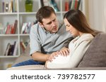pregnant woman suffering belly... | Shutterstock . vector #739782577