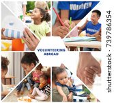 collage with little children... | Shutterstock . vector #739786354