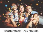group of people having a party  ... | Shutterstock . vector #739789381
