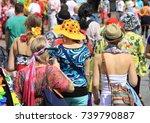 happy people of seventies style | Shutterstock . vector #739790887
