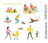 people resting and playing... | Shutterstock .eps vector #739792147