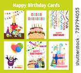 birthday cards with cake ... | Shutterstock .eps vector #739794055