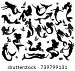 silhouette of a mermaid in the... | Shutterstock .eps vector #739799131