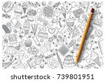 hand drawn set of sweets vector ... | Shutterstock .eps vector #739801951