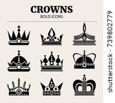 set of crowns. vector flat...