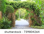 stone arch entrance gate... | Shutterstock . vector #739804264