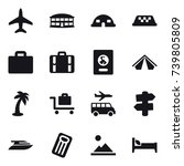 16 vector icon set   plane ... | Shutterstock .eps vector #739805809