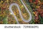 road in autumn scenery   aerial ... | Shutterstock . vector #739806091