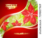 christmas card with poinsettia...   Shutterstock .eps vector #739807969