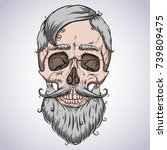 skull. curly beard and hair.... | Shutterstock .eps vector #739809475