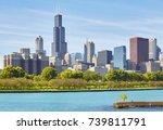 chicago city skyline on a sunny ...   Shutterstock . vector #739811791