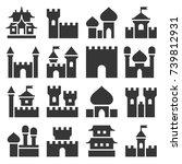 castle icon set | Shutterstock .eps vector #739812931