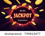 shining retro sign jackpot... | Shutterstock .eps vector #739813477