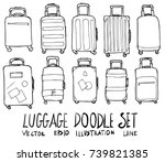 set of luggage illustration... | Shutterstock .eps vector #739821385
