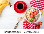 breakfast oatmeal porridge with ...   Shutterstock . vector #739823011