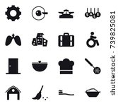 16 vector icon set   gear  cell ... | Shutterstock .eps vector #739825081