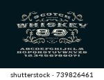 ornate serif extended font in... | Shutterstock .eps vector #739826461