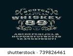 ornate serif extended font in... | Shutterstock .eps vector #739826461