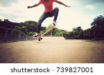 young woman skateboarder... | Shutterstock . vector #739827001