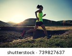 young fitness woman trail... | Shutterstock . vector #739827637