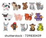 eastern horoscope. vector... | Shutterstock .eps vector #739830439