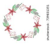 watercolor berry nature wreath... | Shutterstock . vector #739831351