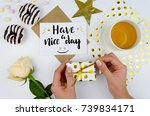 lettering quote have a nice day ...   Shutterstock . vector #739834171