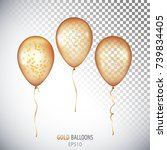 realistic transparent gold...   Shutterstock .eps vector #739834405