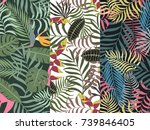 set of three seamless floral... | Shutterstock .eps vector #739846405