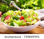cooking salad  olive oil... | Shutterstock . vector #739849591