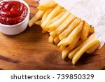 french fries with ketchup on... | Shutterstock . vector #739850329