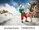 xmas time and elf on winter... | Shutterstock . vector #739852921
