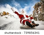 santa claus and winter road  | Shutterstock . vector #739856341