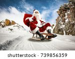 santa claus and winter road  | Shutterstock . vector #739856359