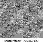 paisley watercolor ethnic... | Shutterstock . vector #739860127