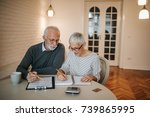 a senior couple taking a closer ... | Shutterstock . vector #739865995