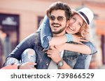 young couple hugging in the... | Shutterstock . vector #739866529