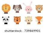 Stock vector cartoon cute animals for baby card and invitation vector illustration lion dog bunny bear 739869901