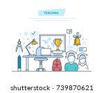 teaching and online education.... | Shutterstock .eps vector #739870621