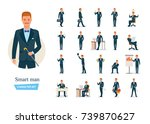 set of smart man cartoon... | Shutterstock .eps vector #739870627