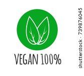 round eco  green logo. vegan... | Shutterstock .eps vector #739876045