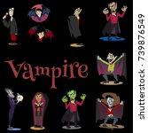 halloween set with vampire and... | Shutterstock .eps vector #739876549