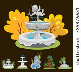 Set Of Outdoors Fountain For...