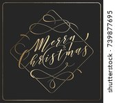 merry christmas   golden text... | Shutterstock .eps vector #739877695