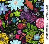 floral ornament. leaves.... | Shutterstock .eps vector #739880335